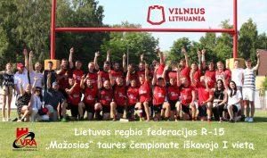 """Vilniaus """"VRA-Tomosta"""" vyrų R15 komanda Lietuvos """"Mažosios"""" taurės NUGALĖTOJA"""